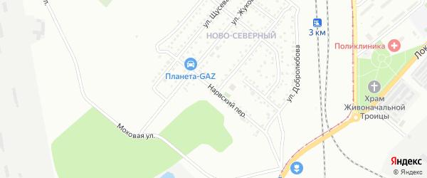 Нарвский переулок на карте Магнитогорска с номерами домов