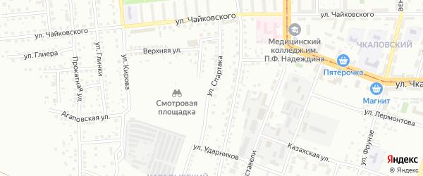 Улица Спартака на карте Магнитогорска с номерами домов