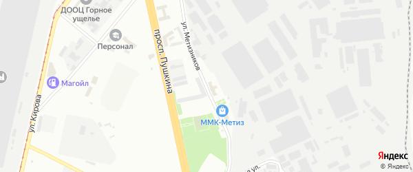 Улица Метизников на карте Магнитогорска с номерами домов