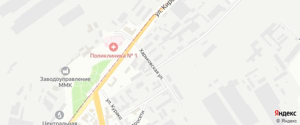 Харьковская улица на карте Магнитогорска с номерами домов