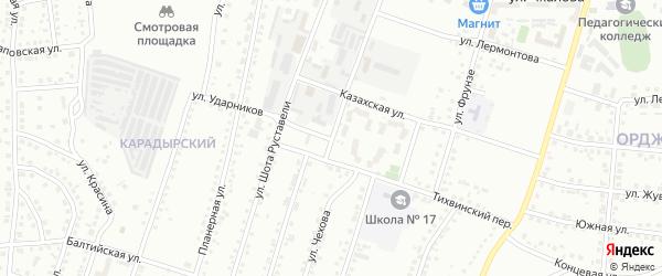 Улица Ударников на карте Магнитогорска с номерами домов