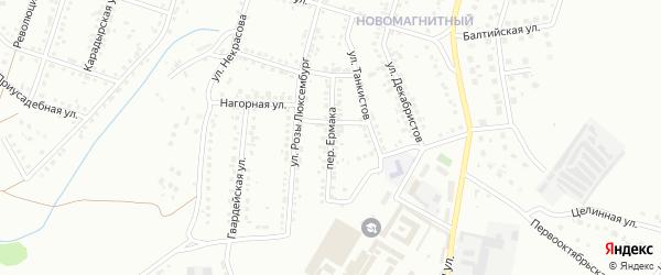 Переулок Ермака на карте Магнитогорска с номерами домов