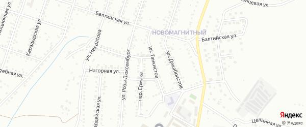 Улица Танкистов на карте Магнитогорска с номерами домов