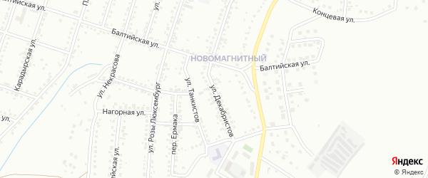 Улица Декабристов на карте Магнитогорска с номерами домов