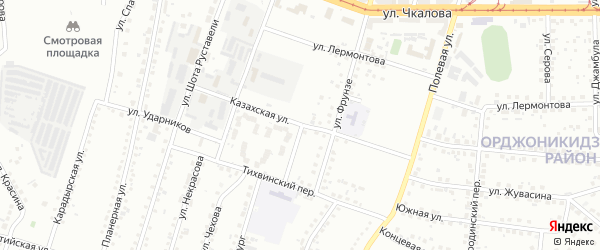 Казахская улица на карте Магнитогорска с номерами домов