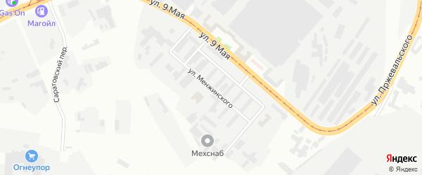Улица Менжинского на карте Магнитогорска с номерами домов