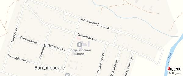 Целинная улица на карте Богдановского села с номерами домов