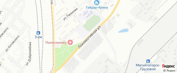 Локомотивная улица на карте Магнитогорска с номерами домов