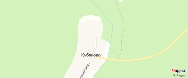 Центральная улица на карте деревни Кубяково с номерами домов