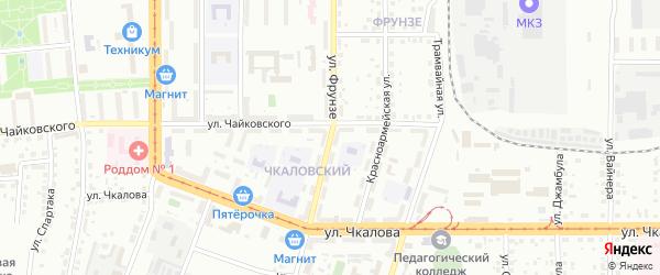 Улица Фрунзе на карте Магнитогорска с номерами домов