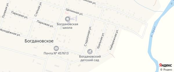 Стадионная улица на карте Богдановского села с номерами домов
