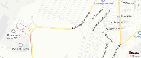 Верхнеуральское шоссе на карте Магнитогорска с номерами домов