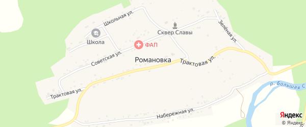 Трактовая улица на карте села Романовки с номерами домов