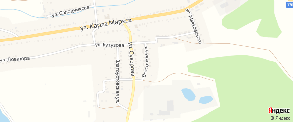 Восточная улица на карте Сатки с номерами домов