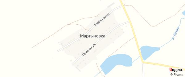 Прудная улица на карте поселка Мартыновки с номерами домов