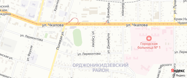 Улица Серова на карте Магнитогорска с номерами домов