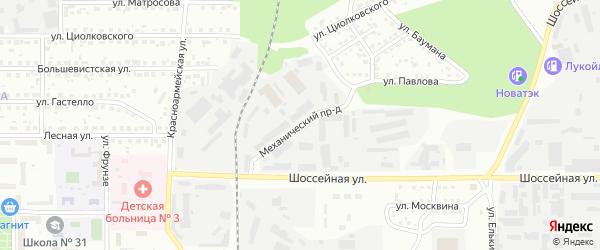 Механический проезд на карте Магнитогорска с номерами домов