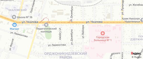 Улица Джамбула на карте Магнитогорска с номерами домов