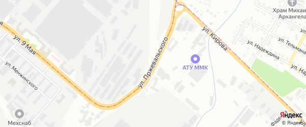 Улица Пржевальского на карте Магнитогорска с номерами домов