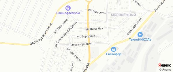 Улица Бородина на карте Магнитогорска с номерами домов