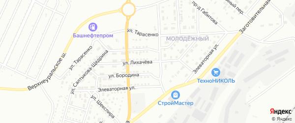Улица Лихачева на карте Магнитогорска с номерами домов