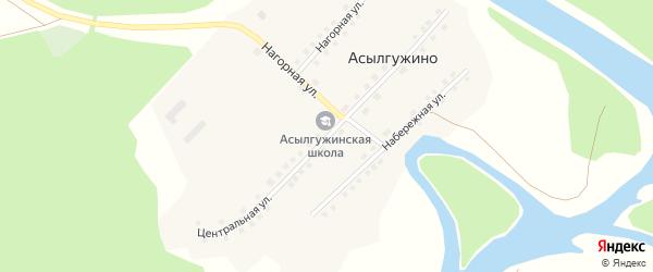 Центральная улица на карте деревни Асылгужино с номерами домов