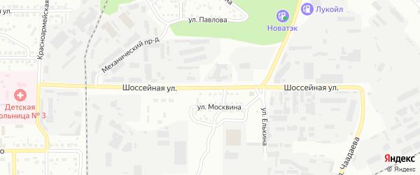 Шоссейная улица на карте Магнитогорска с номерами домов