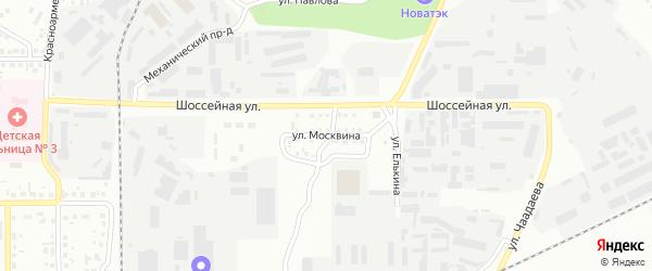 Улица Москвина на карте Магнитогорска с номерами домов