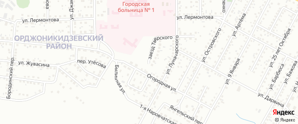 Заезд Тверского на карте Магнитогорска с номерами домов