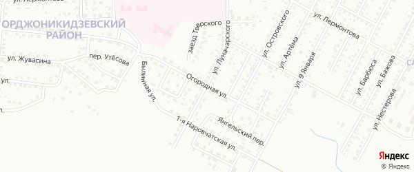 Огородная улица на карте Магнитогорска с номерами домов