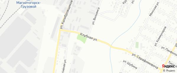 Клубная улица на карте Магнитогорска с номерами домов