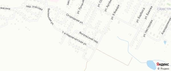 Янгельский переулок на карте Магнитогорска с номерами домов