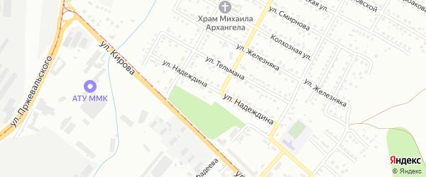 Улица Надеждина на карте Магнитогорска с номерами домов