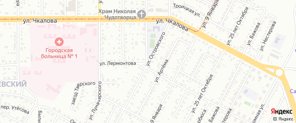 Улица Островского на карте Магнитогорска с номерами домов