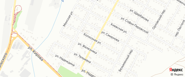 Колхозная улица на карте Магнитогорска с номерами домов