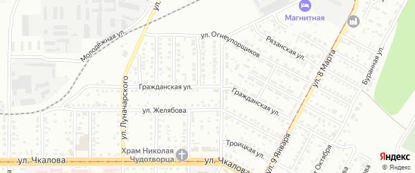 Гражданская улица на карте Магнитогорска с номерами домов
