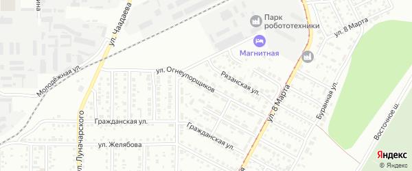 Улица Огнеупорщиков на карте Магнитогорска с номерами домов