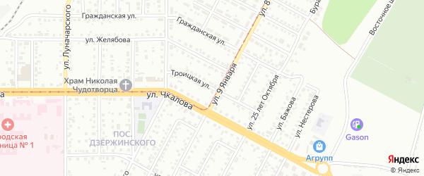 Троицкая улица на карте Магнитогорска с номерами домов