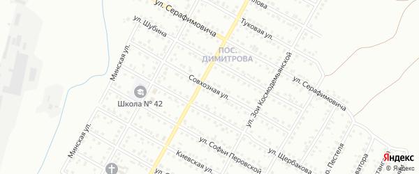 Совхозная улица на карте Магнитогорска с номерами домов