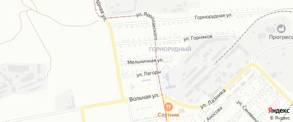 Мельничная улица на карте Магнитогорска с номерами домов