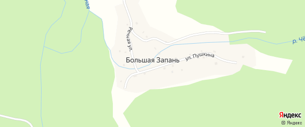 Дорожная улица на карте поселка Большей Запани с номерами домов