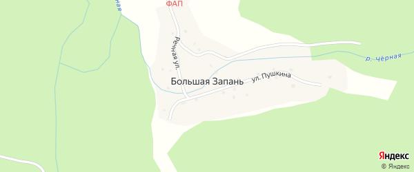 Речная улица на карте поселка Большей Запани с номерами домов