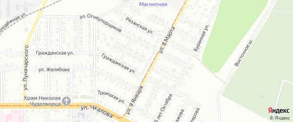 Карталинский заезд на карте Магнитогорска с номерами домов