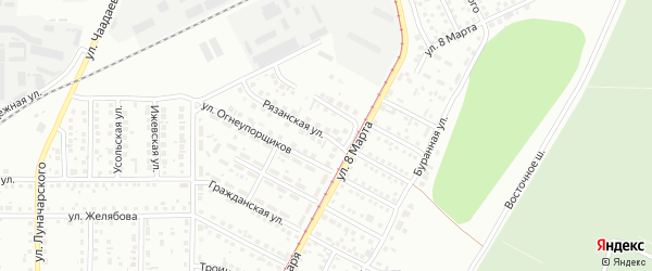 Рязанская улица на карте Магнитогорска с номерами домов