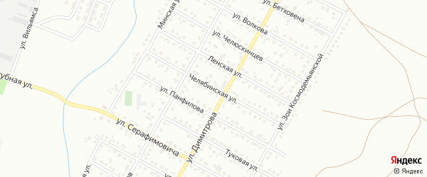 Челябинская улица на карте Магнитогорска с номерами домов