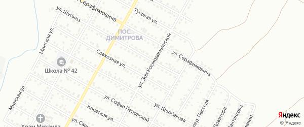 Улица Зои Космодемьянской на карте Магнитогорска с номерами домов