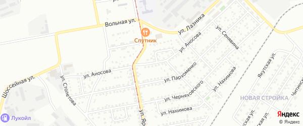 Проезд Аносова на карте Магнитогорска с номерами домов