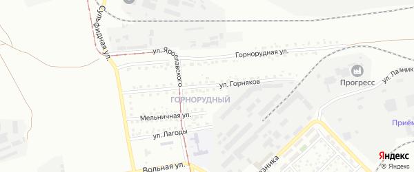 Улица Горняков на карте железнодорожной станции Субутака с номерами домов