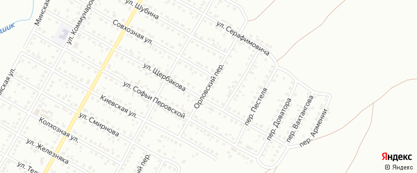 Орловский переулок на карте Магнитогорска с номерами домов