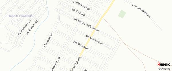 Улица Бетховена на карте Магнитогорска с номерами домов